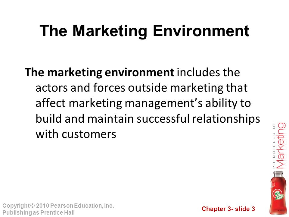 Chapter 3- slide 3 Copyright © 2010 Pearson Education, Inc. Publishing as Prentice Hall The Marketing Environment The marketing environment includes t