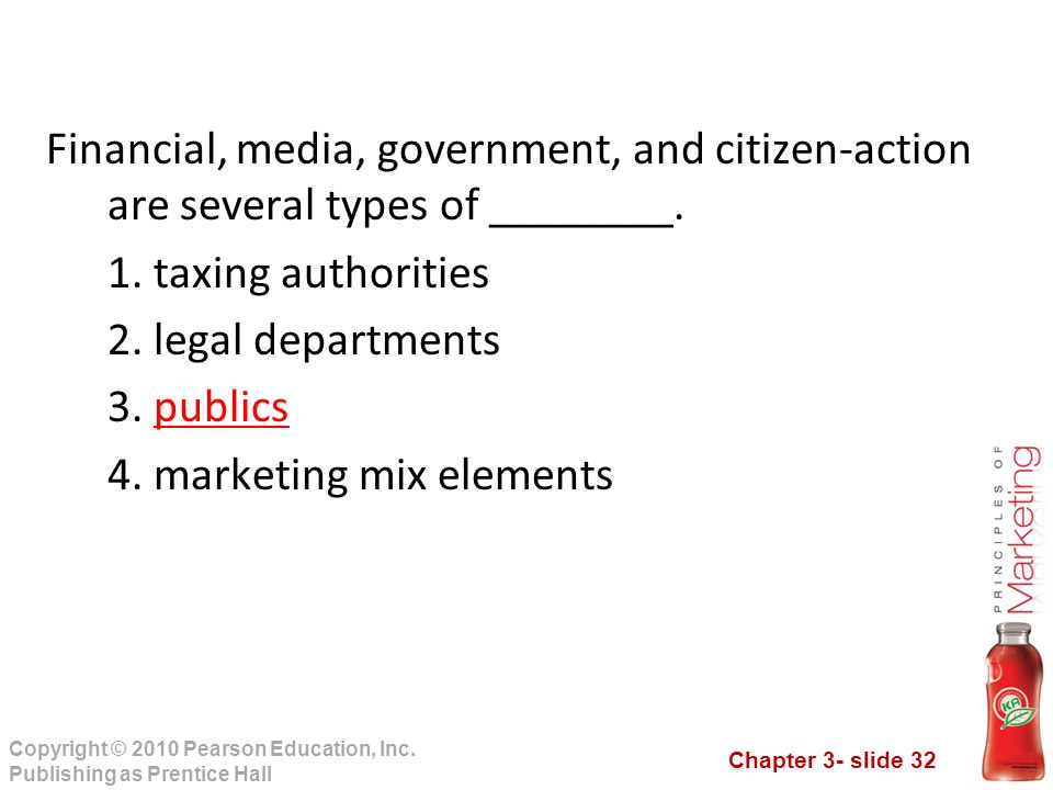 Chapter 3- slide 32 Copyright © 2010 Pearson Education, Inc. Publishing as Prentice Hall Financial, media, government, and citizen-action are several