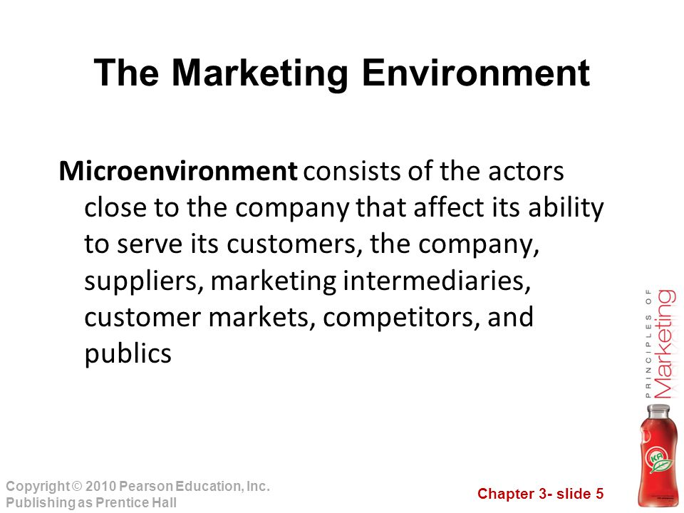 Chapter 3- slide 5 Copyright © 2010 Pearson Education, Inc. Publishing as Prentice Hall The Marketing Environment Microenvironment consists of the act