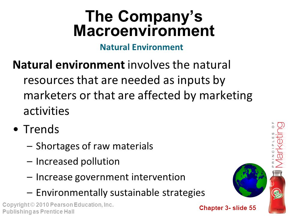 Chapter 3- slide 55 Copyright © 2010 Pearson Education, Inc. Publishing as Prentice Hall The Company's Macroenvironment Natural environment involves t