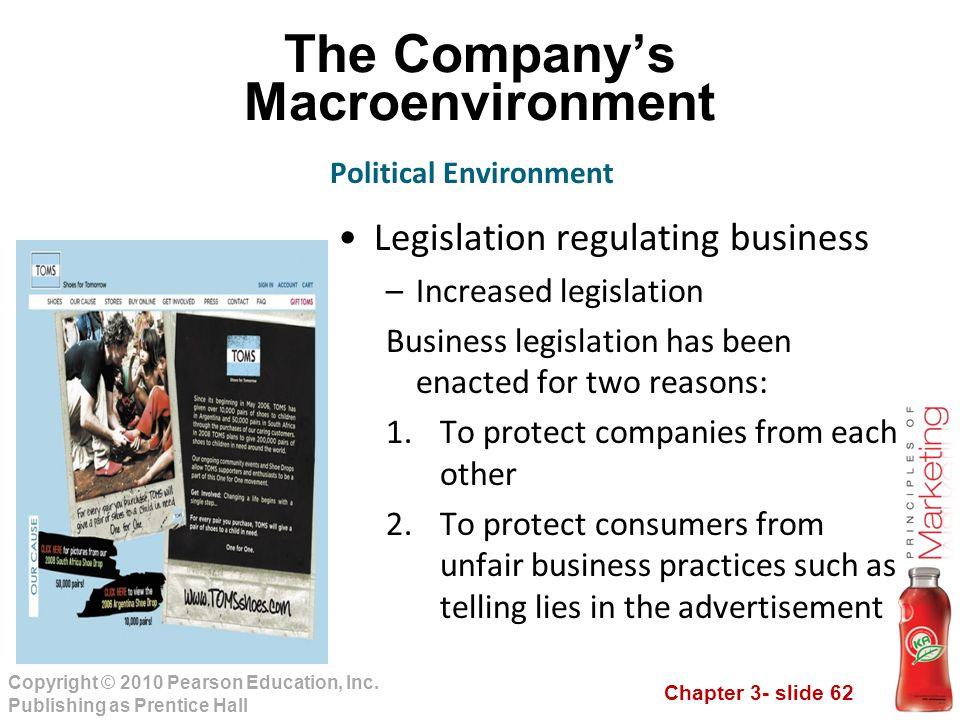 Chapter 3- slide 62 Copyright © 2010 Pearson Education, Inc. Publishing as Prentice Hall The Company's Macroenvironment Legislation regulating busines