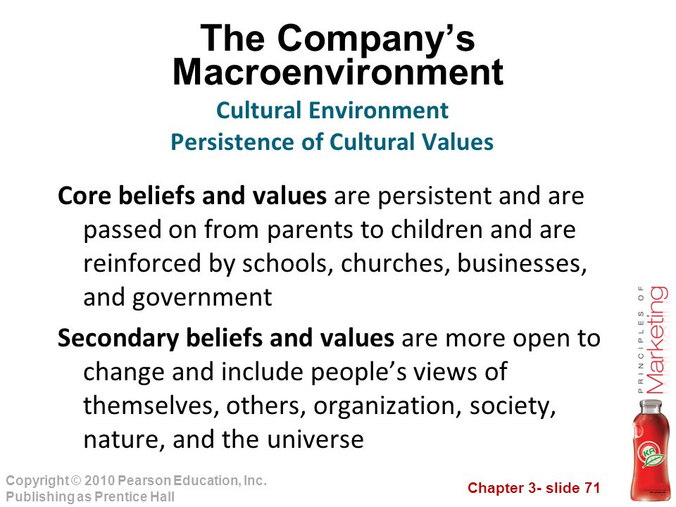 Chapter 3- slide 71 Copyright © 2010 Pearson Education, Inc. Publishing as Prentice Hall The Company's Macroenvironment Core beliefs and values are pe