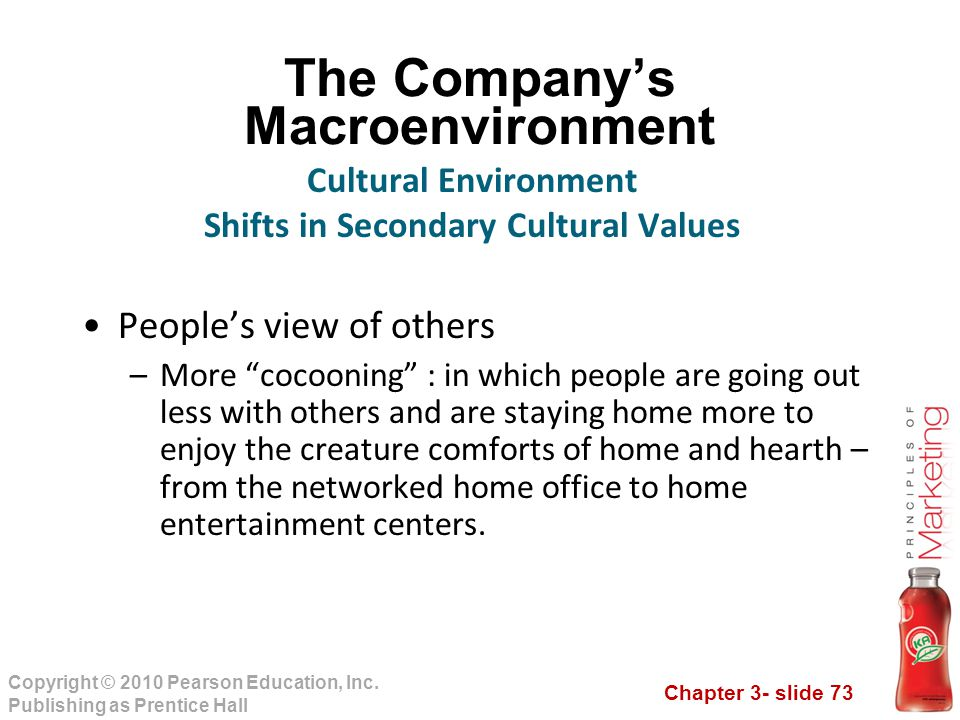 Chapter 3- slide 73 Copyright © 2010 Pearson Education, Inc. Publishing as Prentice Hall The Company's Macroenvironment People's view of others –More