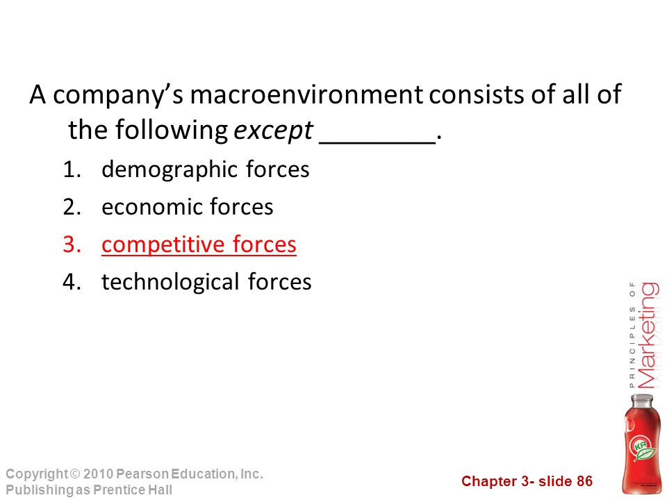 Chapter 3- slide 86 Copyright © 2010 Pearson Education, Inc. Publishing as Prentice Hall A company's macroenvironment consists of all of the following