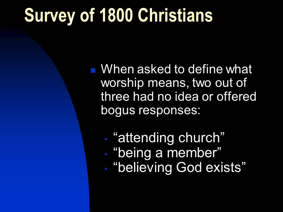 Survey of 1800 Christians When asked to define what worship means, two out of three had no idea or offered bogus responses: attending church being a member believing God exists