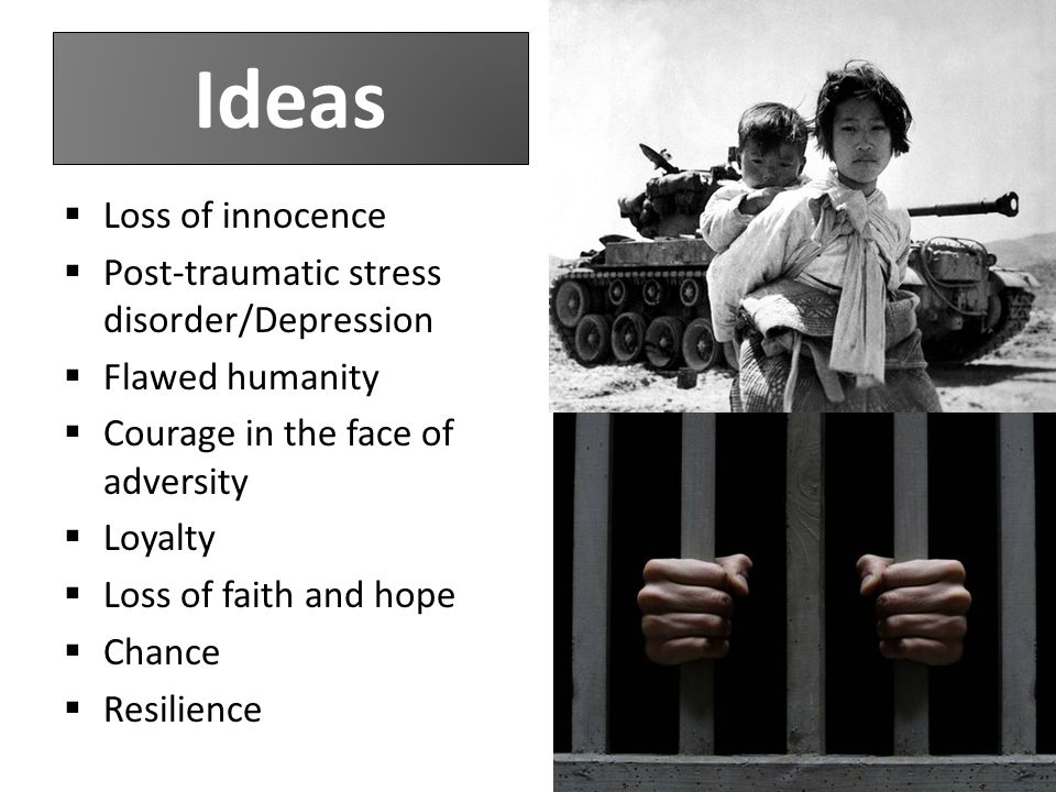 Ideas  Loss of innocence  Post-traumatic stress disorder/Depression  Flawed humanity  Courage in the face of adversity  Loyalty  Loss of faith and hope  Chance  Resilience