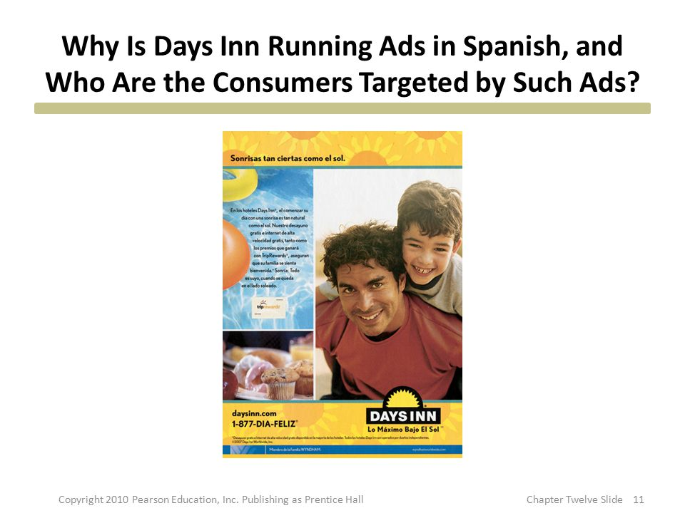 Why Is Days Inn Running Ads in Spanish, and Who Are the Consumers Targeted by Such Ads? 11Copyright 2010 Pearson Education, Inc. Publishing as Prentic