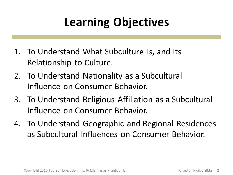 Learning Objectives 1.To Understand What Subculture Is, and Its Relationship to Culture. 2.To Understand Nationality as a Subcultural Influence on Con