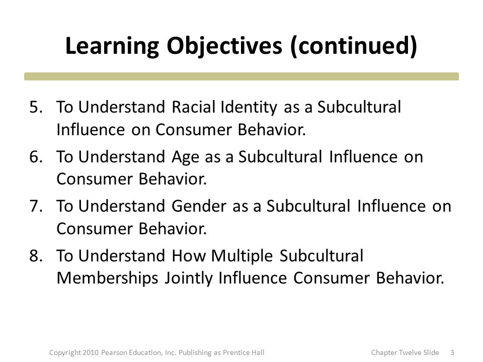 Learning Objectives (continued) 5.To Understand Racial Identity as a Subcultural Influence on Consumer Behavior. 6.To Understand Age as a Subcultural