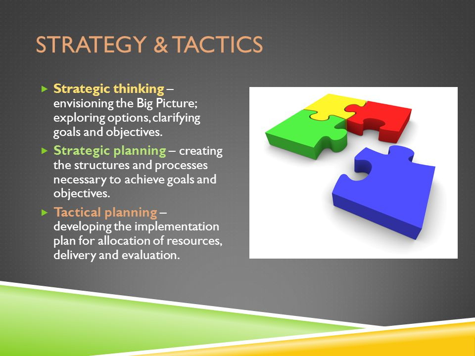 STRATEGY & TACTICS  Strategic thinking – envisioning the Big Picture; exploring options, clarifying goals and objectives.