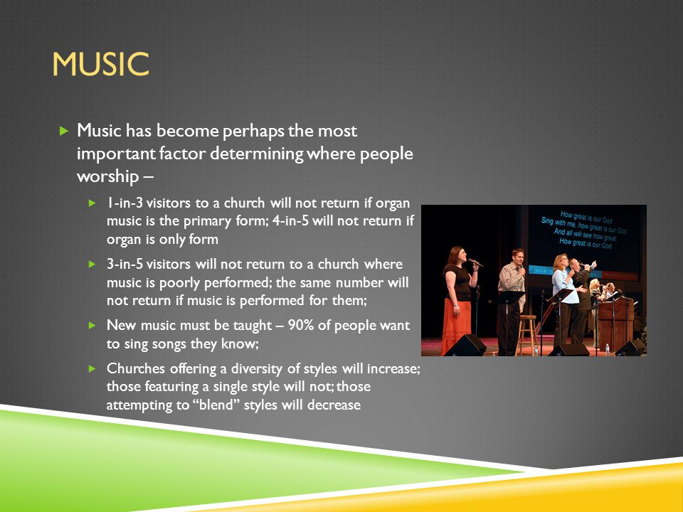 MUSIC  Music has become perhaps the most important factor determining where people worship –  1-in-3 visitors to a church will not return if organ music is the primary form; 4-in-5 will not return if organ is only form  3-in-5 visitors will not return to a church where music is poorly performed; the same number will not return if music is performed for them;  New music must be taught – 90% of people want to sing songs they know;  Churches offering a diversity of styles will increase; those featuring a single style will not; those attempting to blend styles will decrease