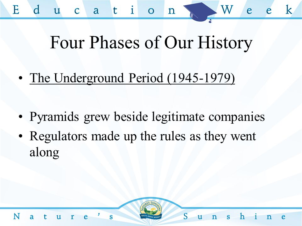 Four Phases of Our History The Underground Period (1945-1979) Pyramids grew beside legitimate companies Regulators made up the rules as they went along