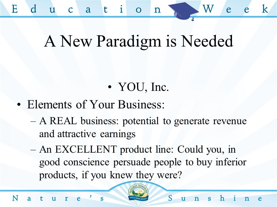 A New Paradigm is Needed YOU, Inc.