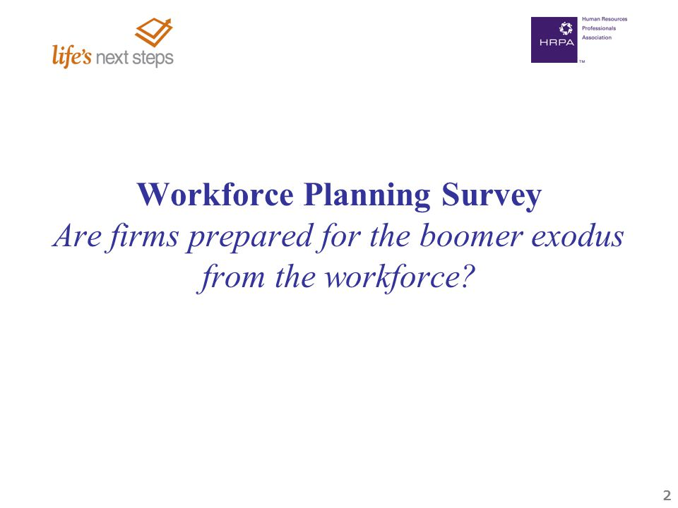 2 Workforce Planning Survey Are firms prepared for the boomer exodus from the workforce