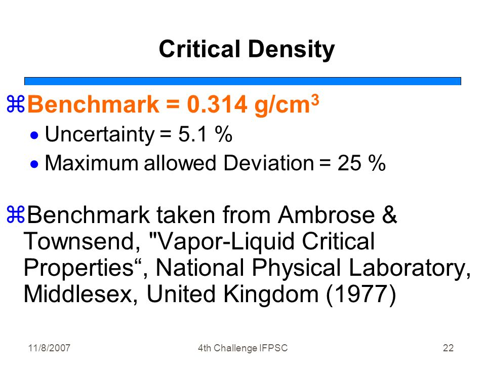 11/8/20074th Challenge IFPSC22 Critical Density zBenchmark = 0.314 g/cm 3  Uncertainty = 5.1 %  Maximum allowed Deviation = 25 % zBenchmark taken from Ambrose & Townsend, Vapor-Liquid Critical Properties , National Physical Laboratory, Middlesex, United Kingdom (1977)