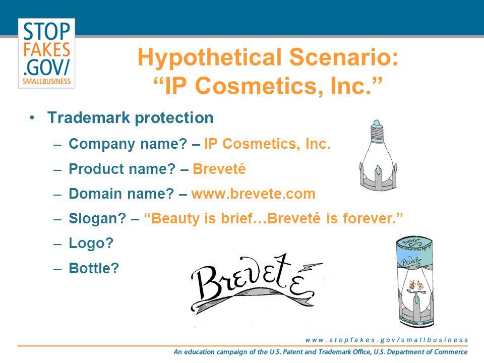 "Trademark protection –Company name? – IP Cosmetics, Inc. –Product name? – Breveté –Domain name? – www.brevete.com –Slogan? – ""Beauty is brief…Breveté"