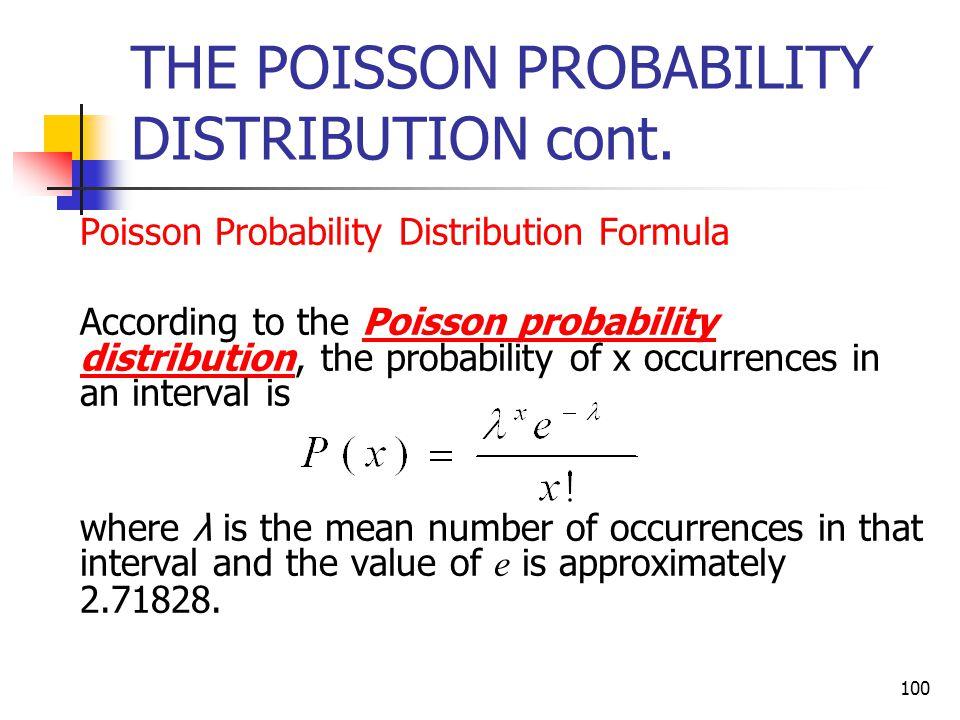 100 THE POISSON PROBABILITY DISTRIBUTION cont.