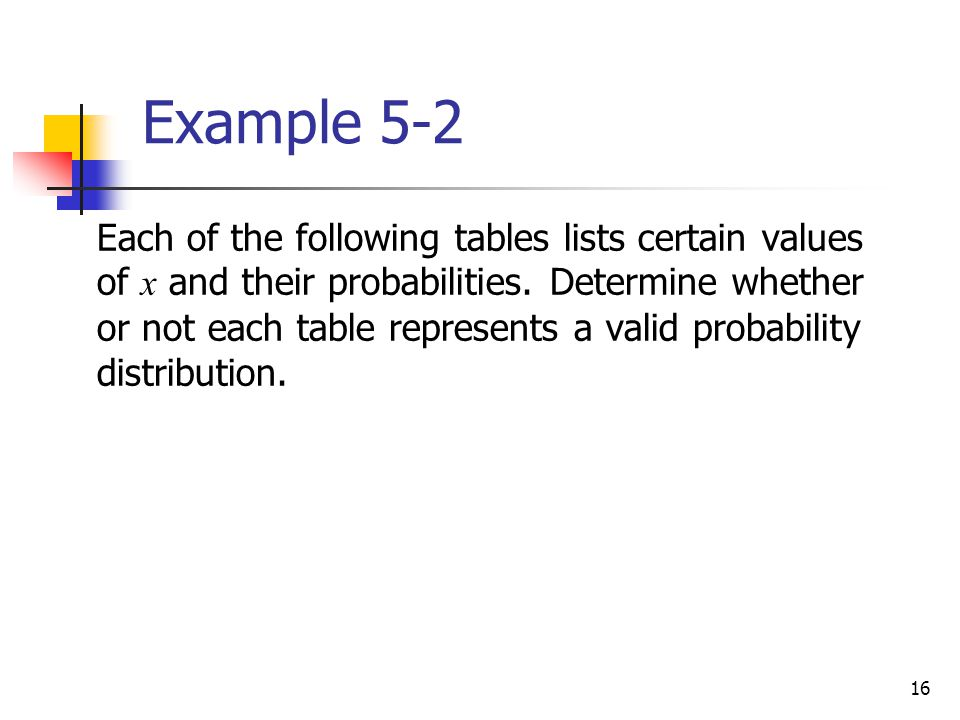 16 Each of the following tables lists certain values of x and their probabilities.