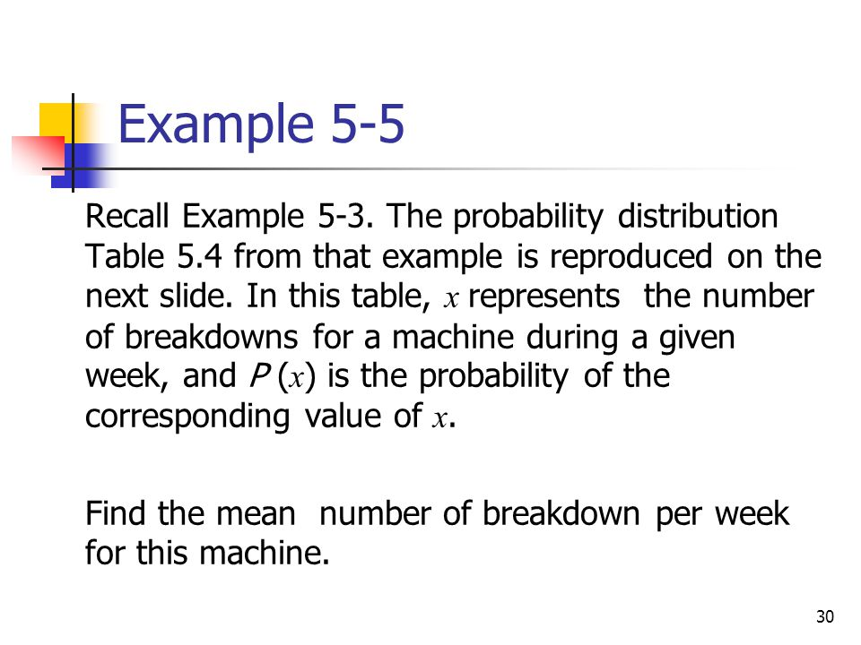 30 Example 5-5  Recall Example 5-3. The probability distribution Table 5.4 from that example is reproduced on the next slide. In this table, x repres
