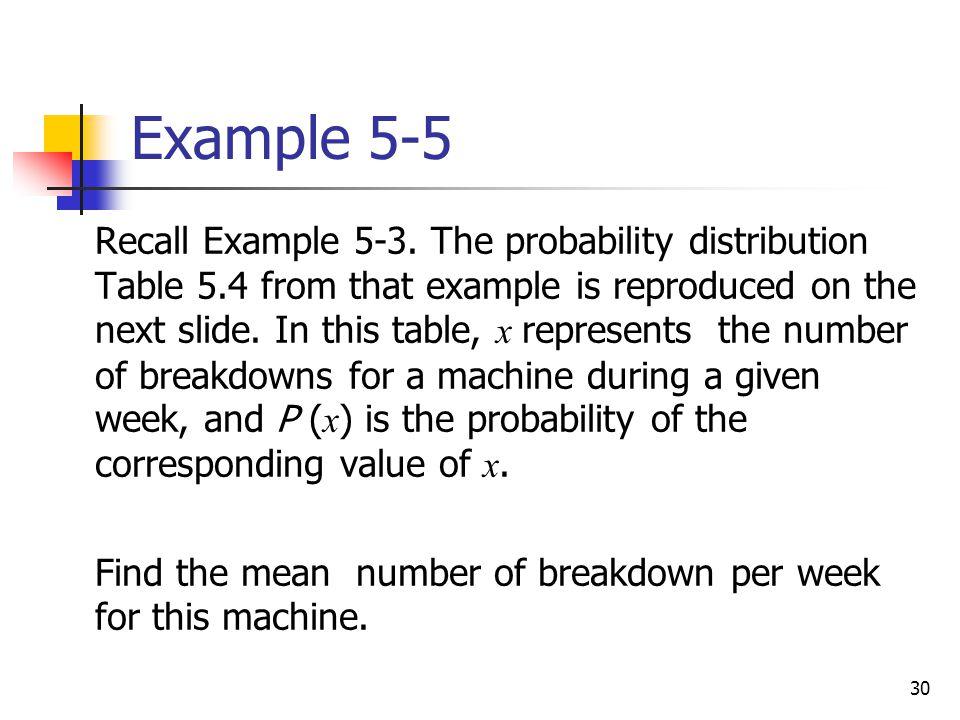 30 Example 5-5  Recall Example 5-3.