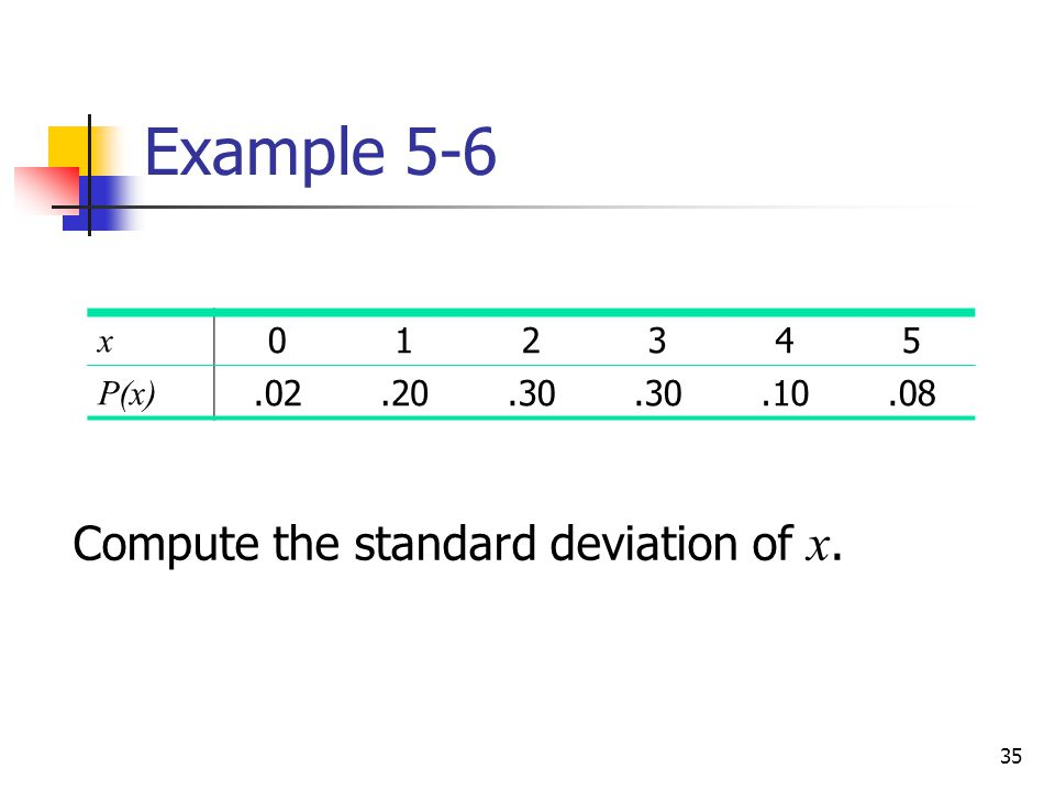 35 Example 5-6 Compute the standard deviation of x. x 012345 P(x).02.20.30.10.08