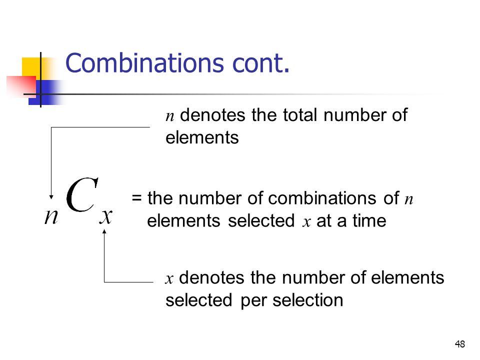 48 Combinations cont.