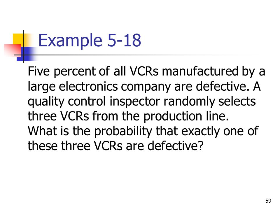 59 Example 5-18  Five percent of all VCRs manufactured by a large electronics company are defective. A quality control inspector randomly selects thr