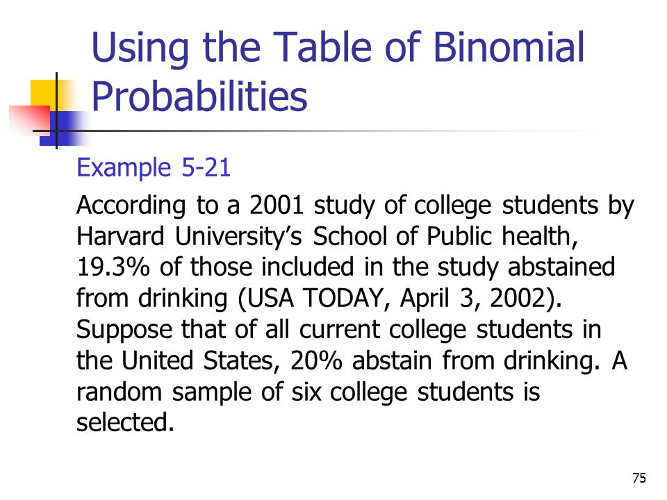 75 Using the Table of Binomial Probabilities  Example 5-21  According to a 2001 study of college students by Harvard University's School of Public h