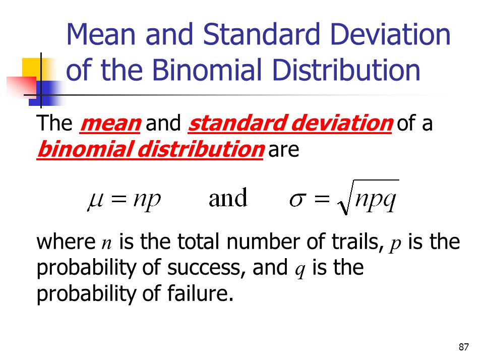 87 Mean and Standard Deviation of the Binomial Distribution The mean and standard deviation of a binomial distribution are where n is the total number of trails, p is the probability of success, and q is the probability of failure.