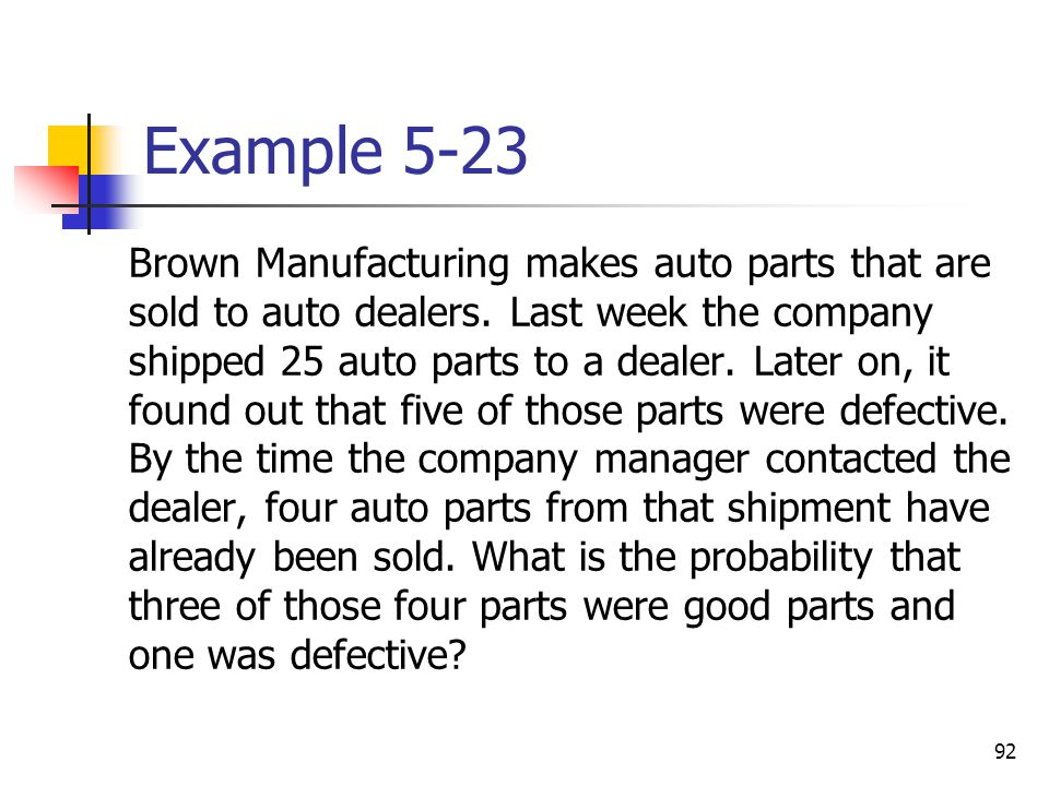 92 Example 5-23 Brown Manufacturing makes auto parts that are sold to auto dealers.