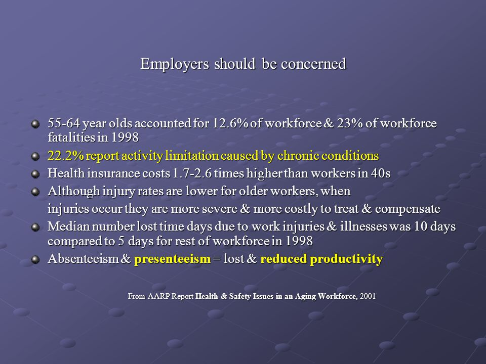 And employers will see a higher prevalence of chronic illnesses & a higher incidence of injuries & MSDs