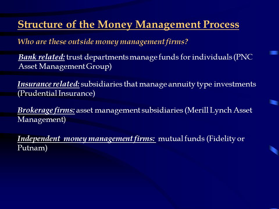 Structure of the Money Management Process Outside money managers are hired to make money for various types of organizations.