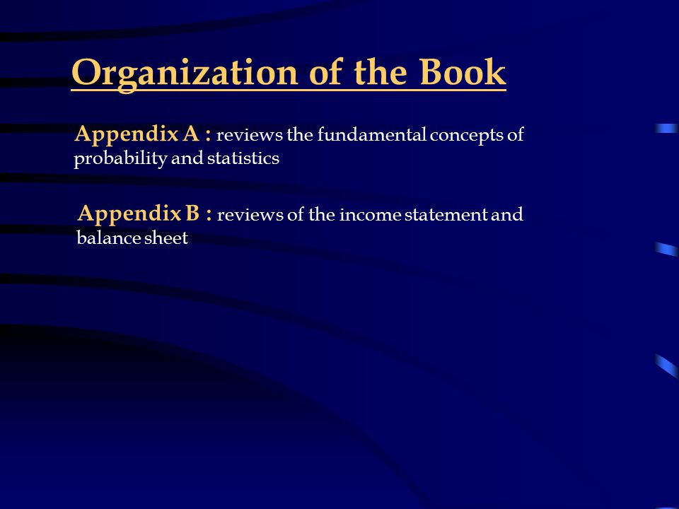 Organization of the Book Section IV Chapters 11-21 : discuss common stock (equity)portfolio management including the important idea of pricing efficiency; technical, fundamental and forecasting analysis techniques; industry environment; indexing; factor models; options and futures; and equity trading Section V Chapters 22-30 : discuss fixed income portfolio management including characteristics and analytical tools, yields, active bond strategies and indexing, and futures and contracts Section VI Chapters 31-33 : show the student the mathematical models used to make asset allocation decisions, and how to measure and evaluate the performance of a money manager