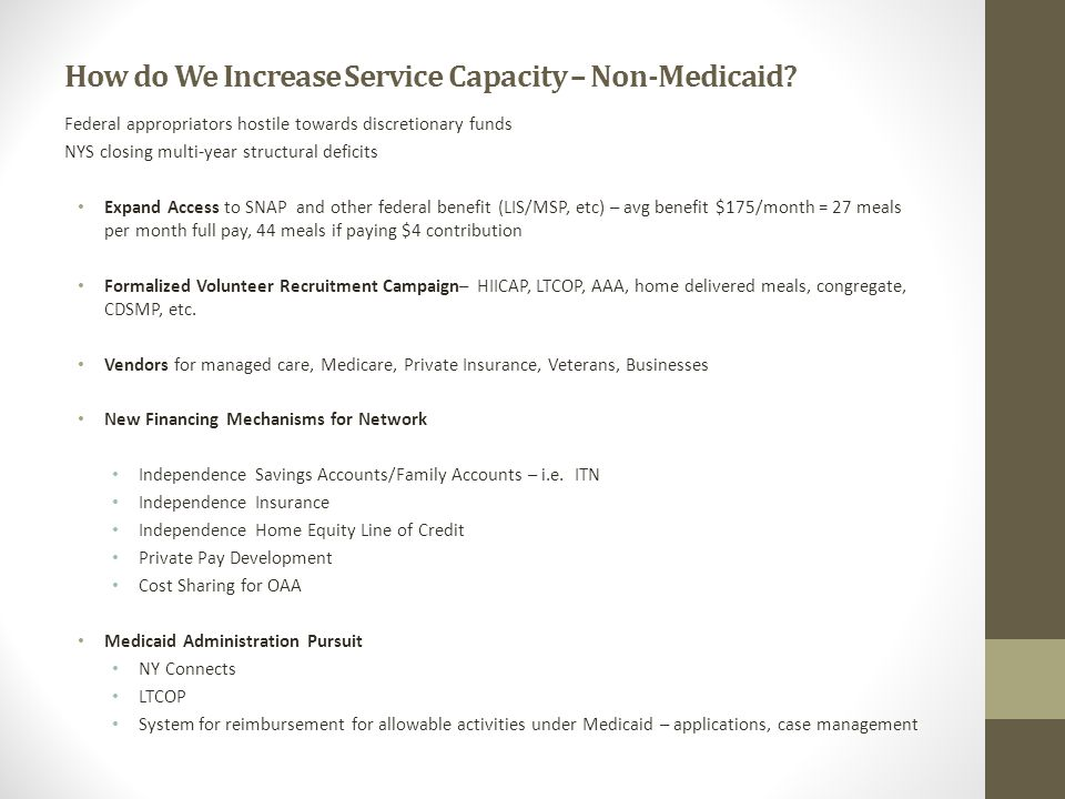 How do We Increase Service Capacity – Non-Medicaid? Federal appropriators hostile towards discretionary funds NYS closing multi-year structural defici