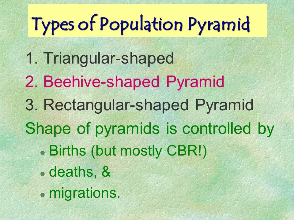 Rectangular Pyramid Title: Netherlands, 2000 Shape: Rectangular-shaped - Zero Pop Growth Narrow Base - Low Birth Rates - Life-expectancy is high e.g.