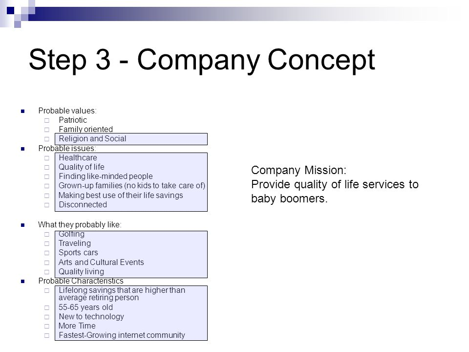 Step 3 - Company Concept Probable values:  Patriotic  Family oriented  Religion and Social Probable issues:  Healthcare  Quality of life  Finding like-minded people  Grown-up families (no kids to take care of)  Making best use of their life savings  Disconnected What they probably like:  Golfing  Traveling  Sports cars  Arts and Cultural Events  Quality living Probable Characteristics  Lifelong savings that are higher than average retiring person  55-65 years old  New to technology  More Time  Fastest-Growing internet community Company Mission: Provide quality of life services to baby boomers.