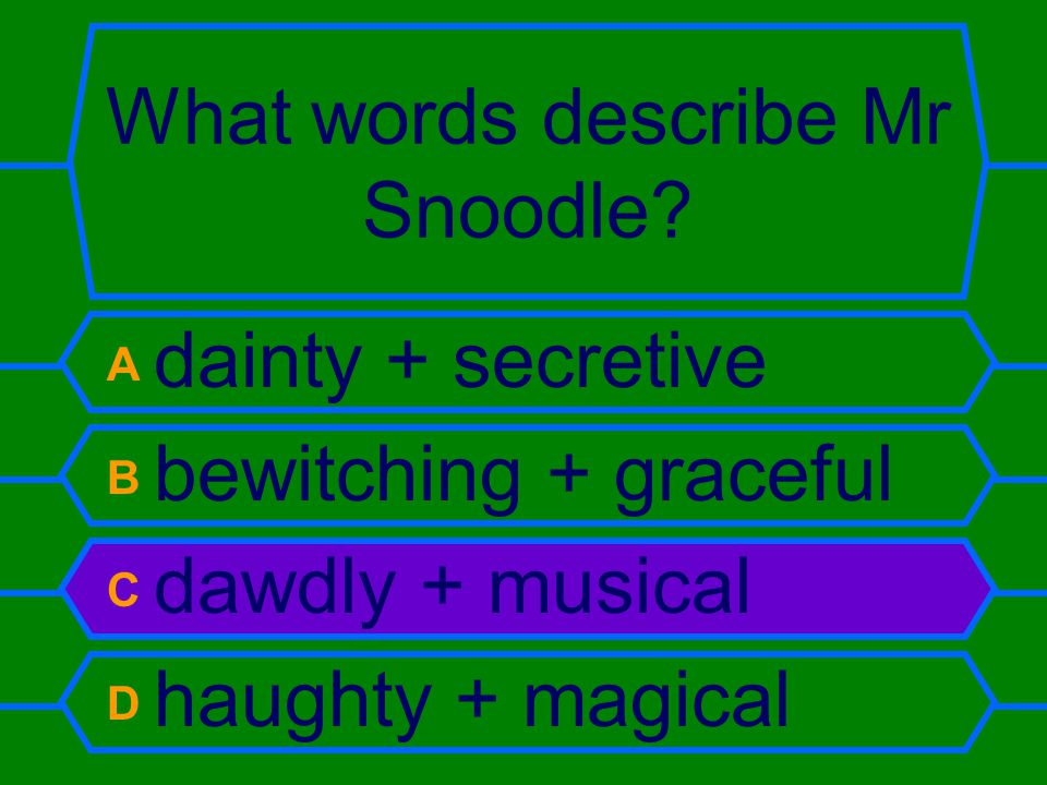 What words describe Mr Snoodle.
