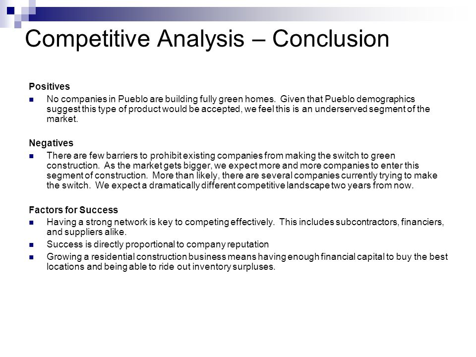 Competitive Analysis – Conclusion Positives No companies in Pueblo are building fully green homes.