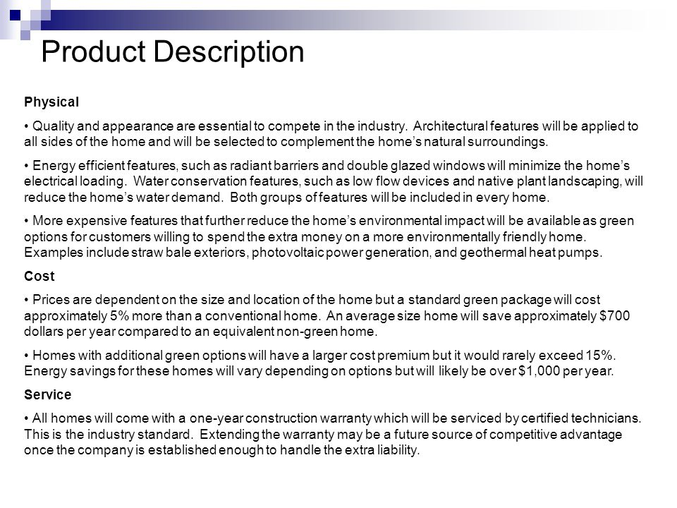 Product Description Physical Quality and appearance are essential to compete in the industry.