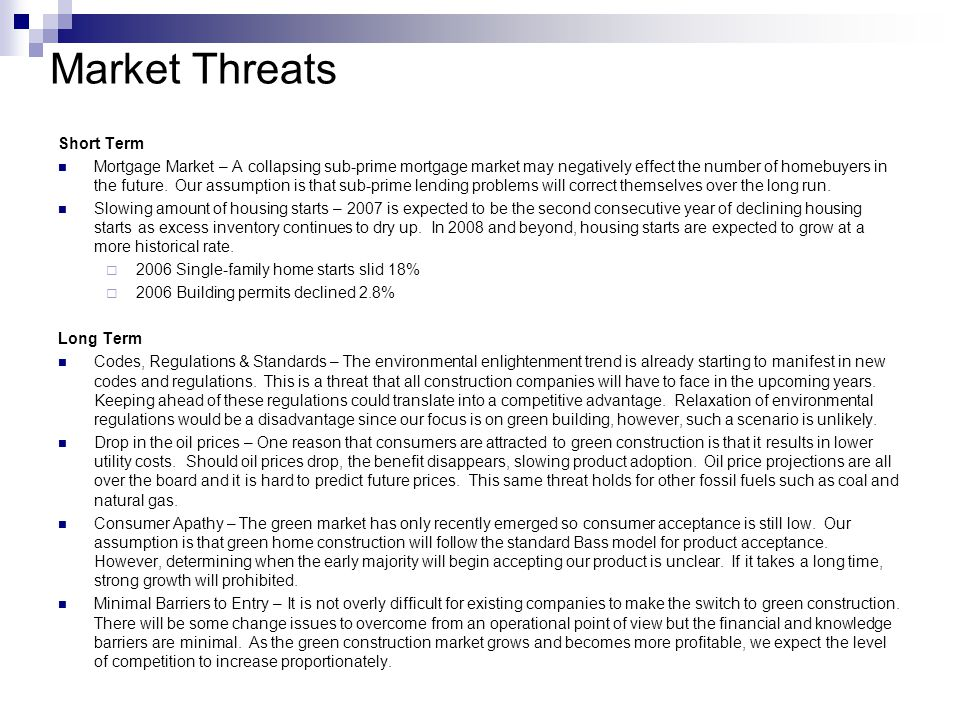 Market Threats Short Term Mortgage Market – A collapsing sub-prime mortgage market may negatively effect the number of homebuyers in the future.