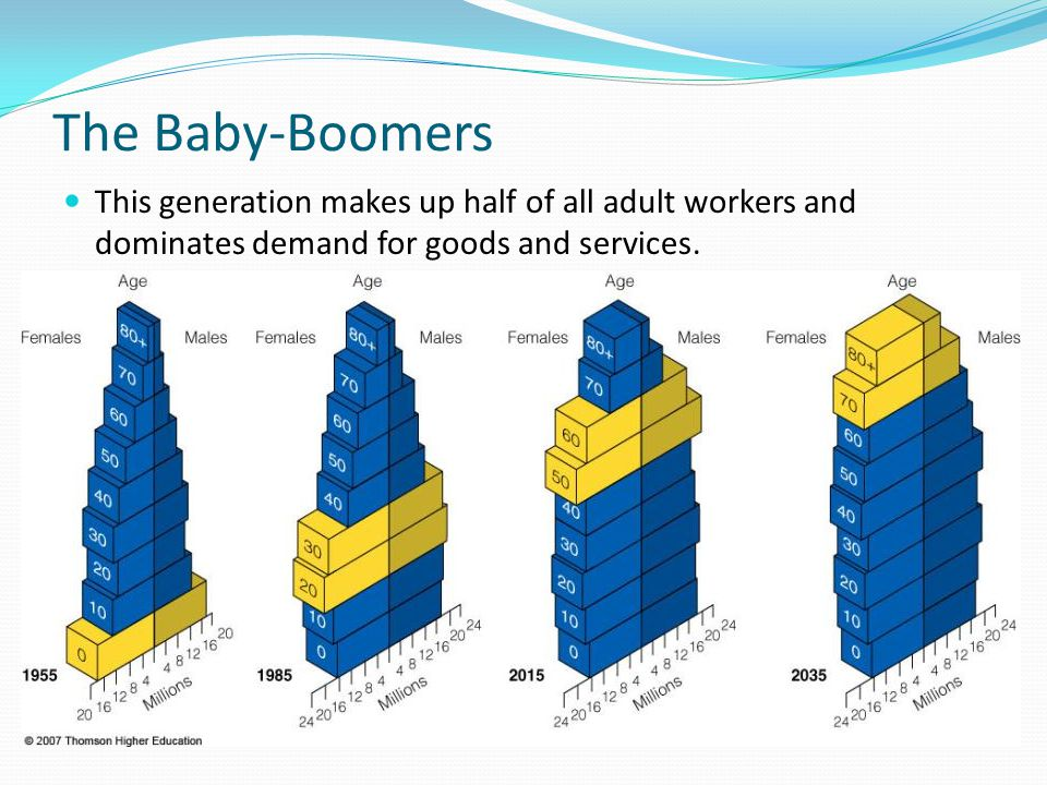 The Baby-Boomers This generation makes up half of all adult workers and dominates demand for goods and services.