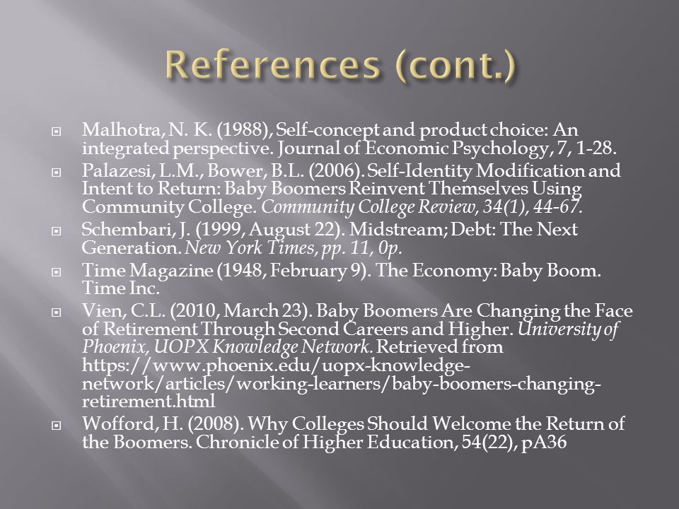  Malhotra, N. K. (1988), Self-concept and product choice: An integrated perspective. Journal of Economic Psychology, 7, 1-28.  Palazesi, L.M., Bower