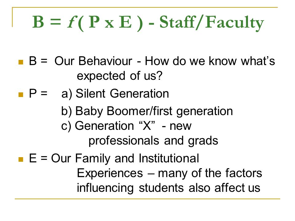 B = f ( P x E ) - Staff/Faculty B = Our Behaviour - How do we know what's expected of us.