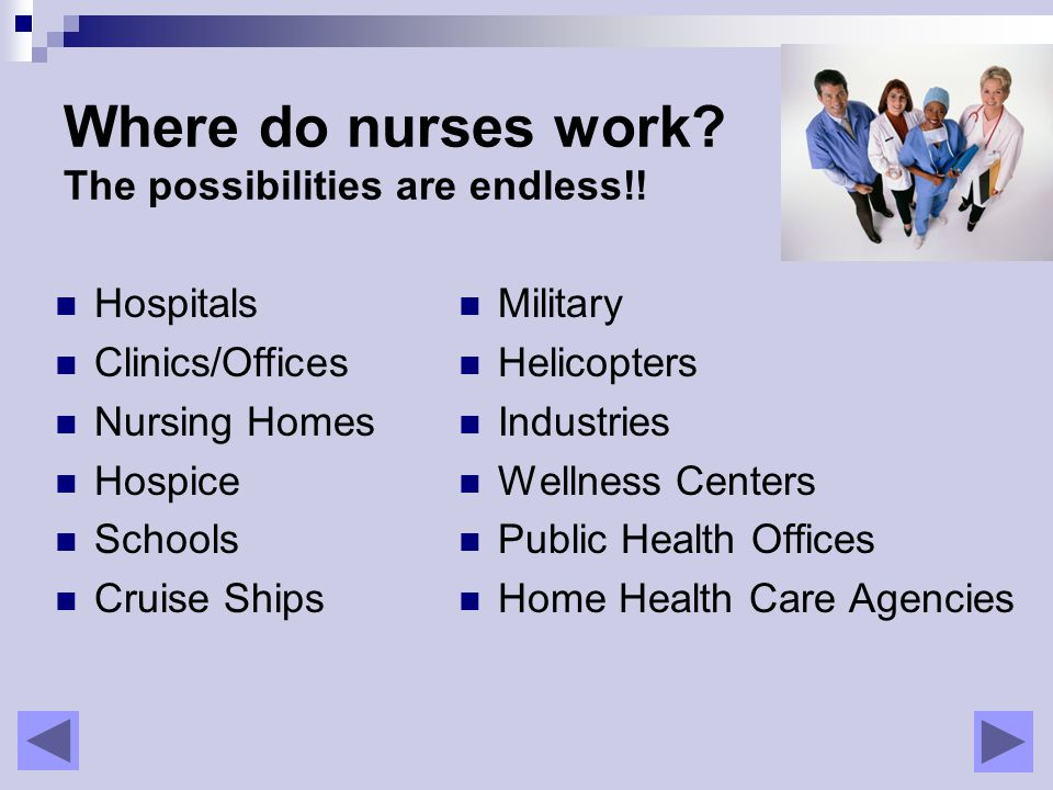 Where do nurses work. The possibilities are endless!.