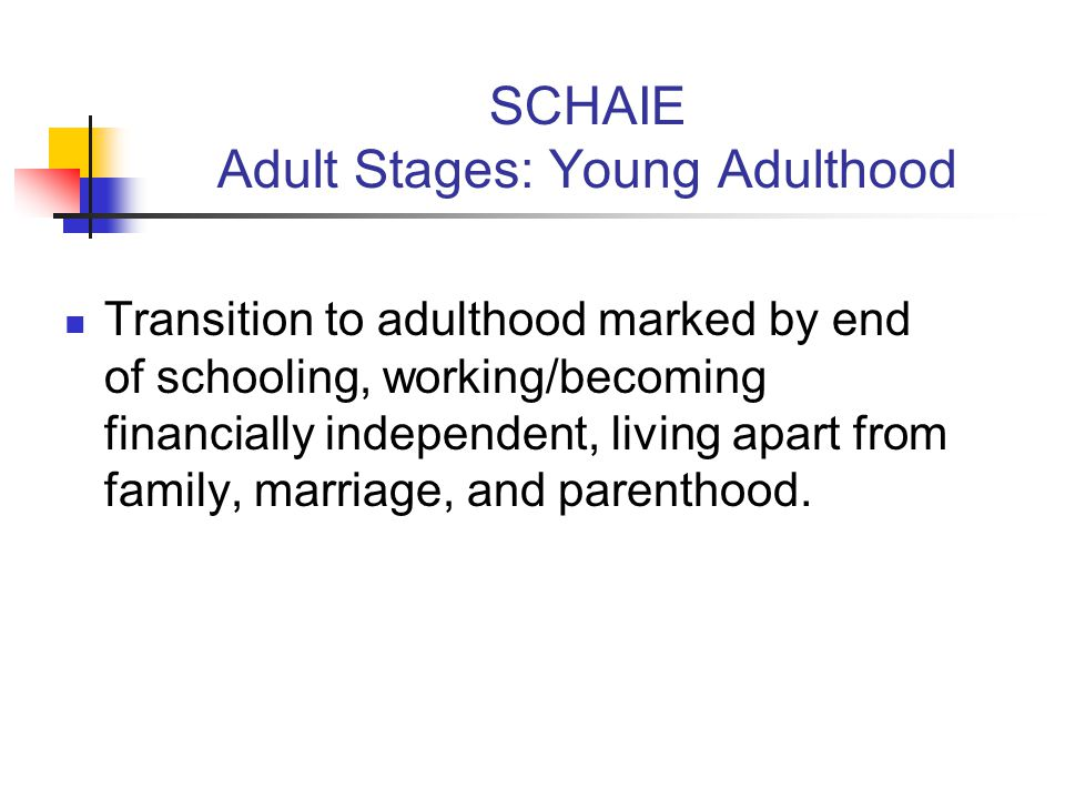 SCHAIE Adult Stages: Young Adulthood Transition to adulthood marked by end of schooling, working/becoming financially independent, living apart from family, marriage, and parenthood.