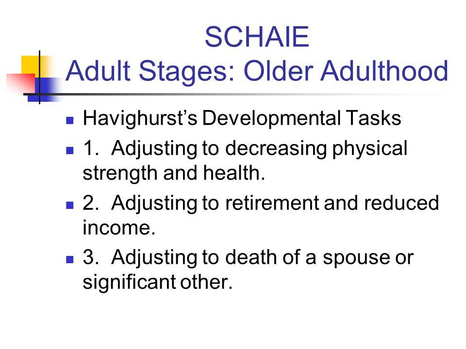SCHAIE Adult Stages: Older Adulthood Havighurst's Developmental Tasks 1.