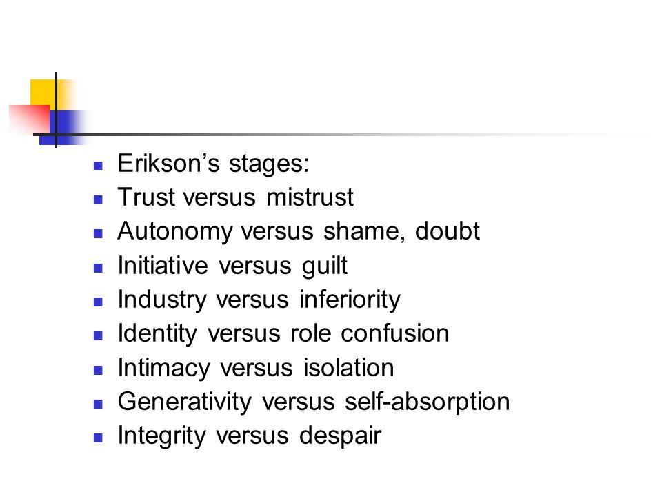 Erikson's stages: Trust versus mistrust Autonomy versus shame, doubt Initiative versus guilt Industry versus inferiority Identity versus role confusion Intimacy versus isolation Generativity versus self-absorption Integrity versus despair