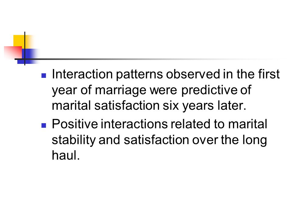 Interaction patterns observed in the first year of marriage were predictive of marital satisfaction six years later.