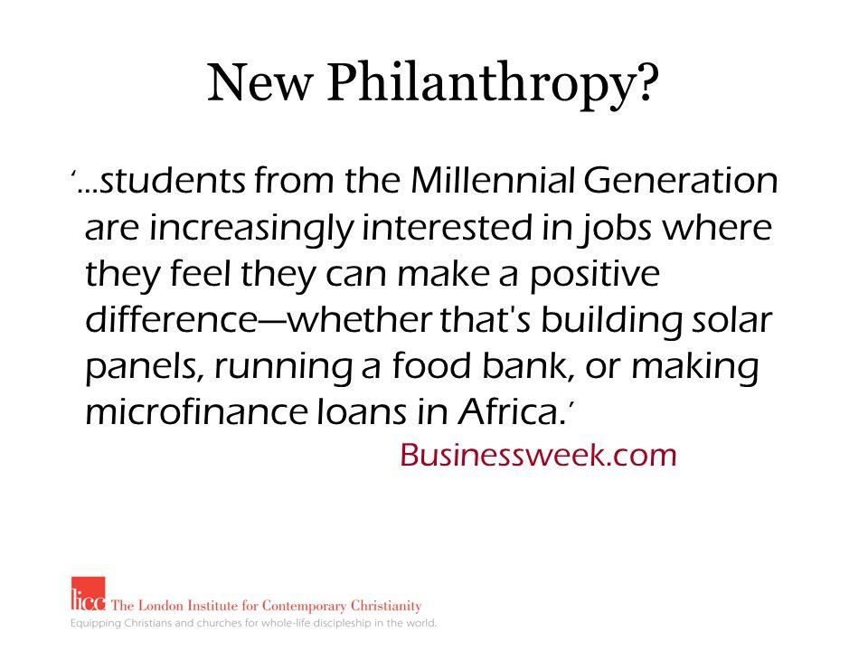 New Philanthropy.