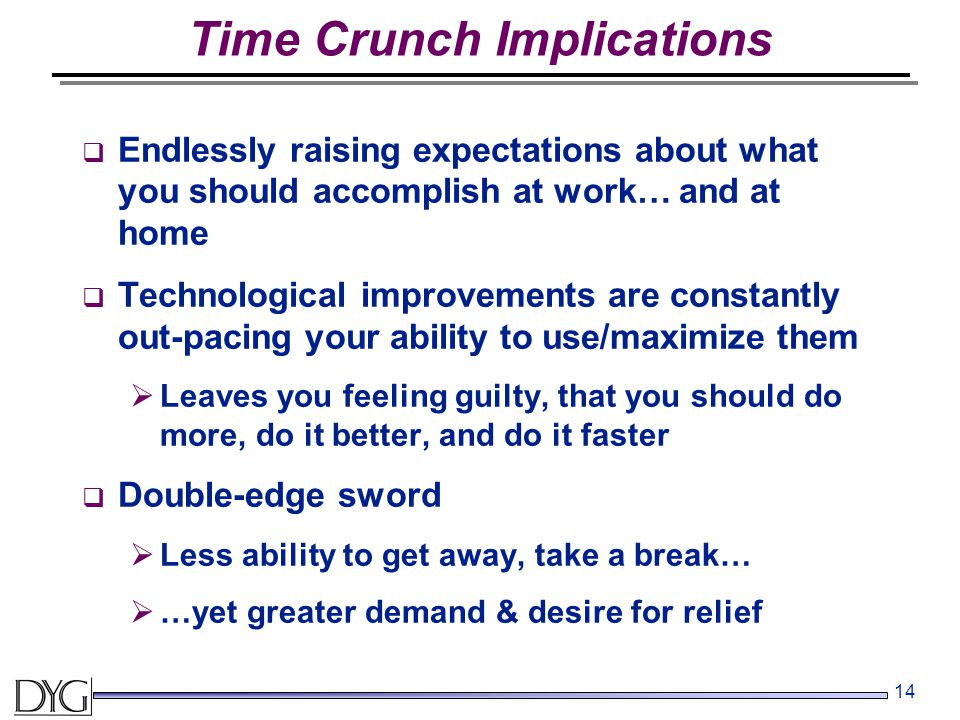 14 Time Crunch Implications  Endlessly raising expectations about what you should accomplish at work… and at home  Technological improvements are constantly out-pacing your ability to use/maximize them  Leaves you feeling guilty, that you should do more, do it better, and do it faster  Double-edge sword  Less ability to get away, take a break…  …yet greater demand & desire for relief